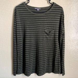 Vince Green Striped Long Sleeve Shirt w/Pocket XS